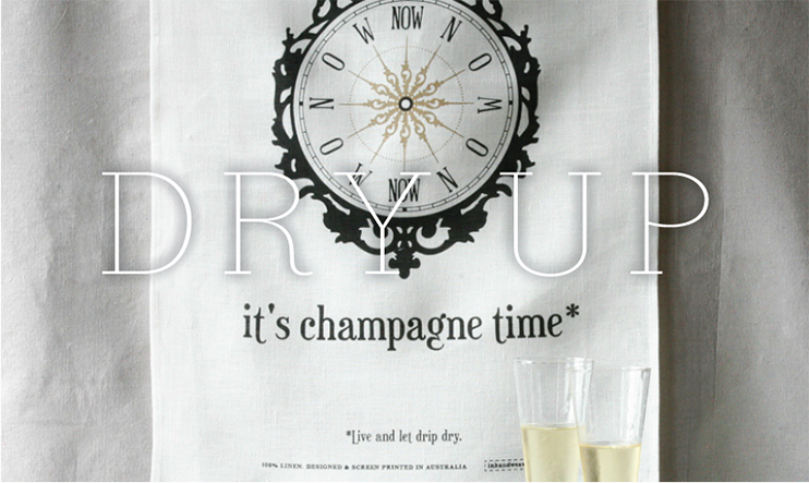 champagne time - tea towel